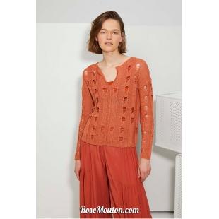 Modèle pullover 49 catalogue FAM 267Lang Yarns